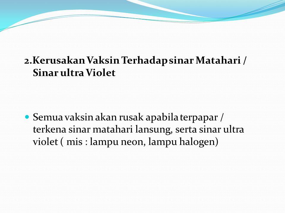 2.Kerusakan Vaksin Terhadap sinar Matahari / Sinar ultra Violet Semua vaksin akan rusak apabila terpapar / terkena sinar matahari lansung, serta sinar