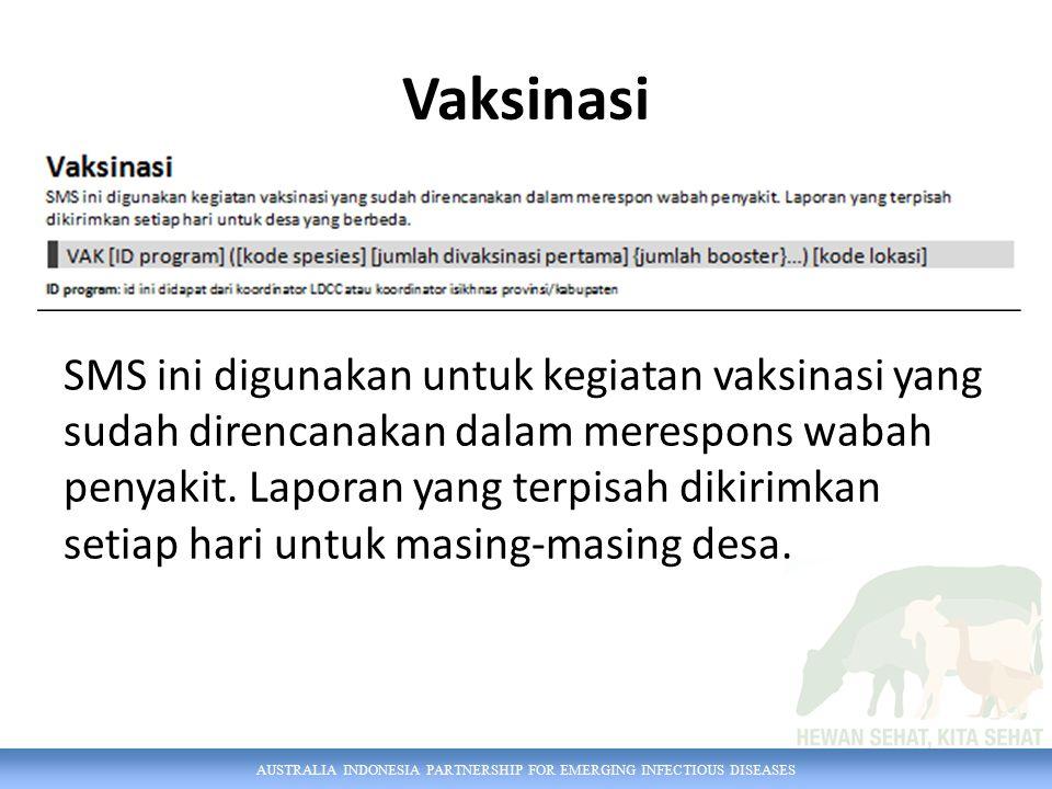 AUSTRALIA INDONESIA PARTNERSHIP FOR EMERGING INFECTIOUS DISEASES Vaksinasi SMS ini digunakan untuk kegiatan vaksinasi yang sudah direncanakan dalam merespons wabah penyakit.