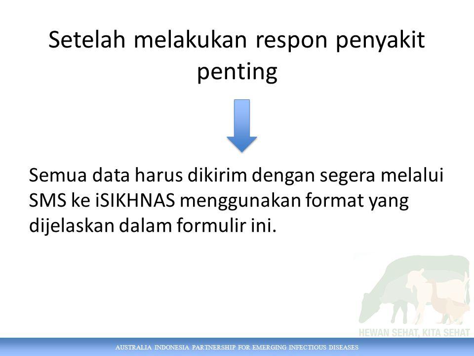 AUSTRALIA INDONESIA PARTNERSHIP FOR EMERGING INFECTIOUS DISEASES Contoh OB [ID kasus] ([kode obat] [dosis] [jumlah hewan]...) OB 2238 O232 5 4 [iSIKHNAS] Terima kasih.