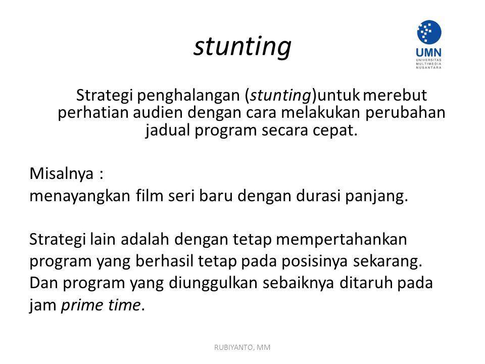 stunting Strategi penghalangan (stunting)untuk merebut perhatian audien dengan cara melakukan perubahan jadual program secara cepat. Misalnya : menaya