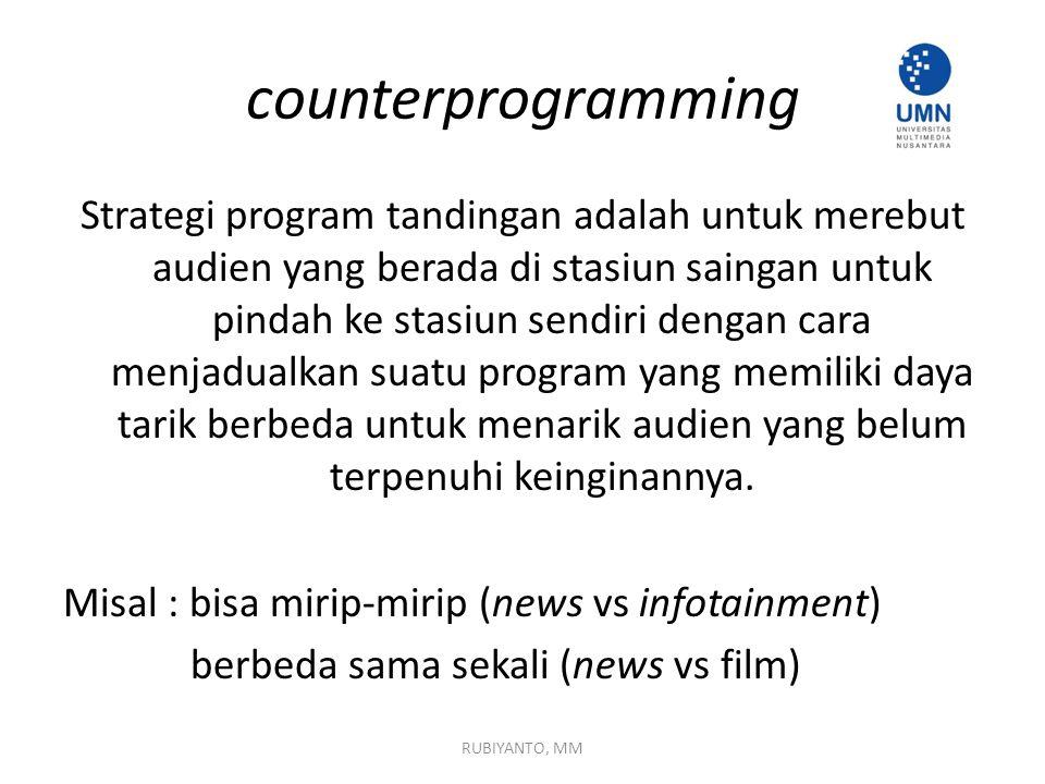 counterprogramming Strategi program tandingan adalah untuk merebut audien yang berada di stasiun saingan untuk pindah ke stasiun sendiri dengan cara menjadualkan suatu program yang memiliki daya tarik berbeda untuk menarik audien yang belum terpenuhi keinginannya.