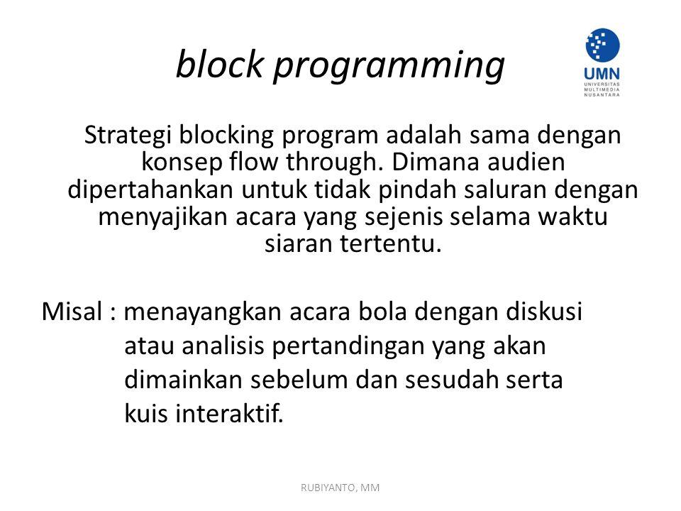 block programming Strategi blocking program adalah sama dengan konsep flow through. Dimana audien dipertahankan untuk tidak pindah saluran dengan meny