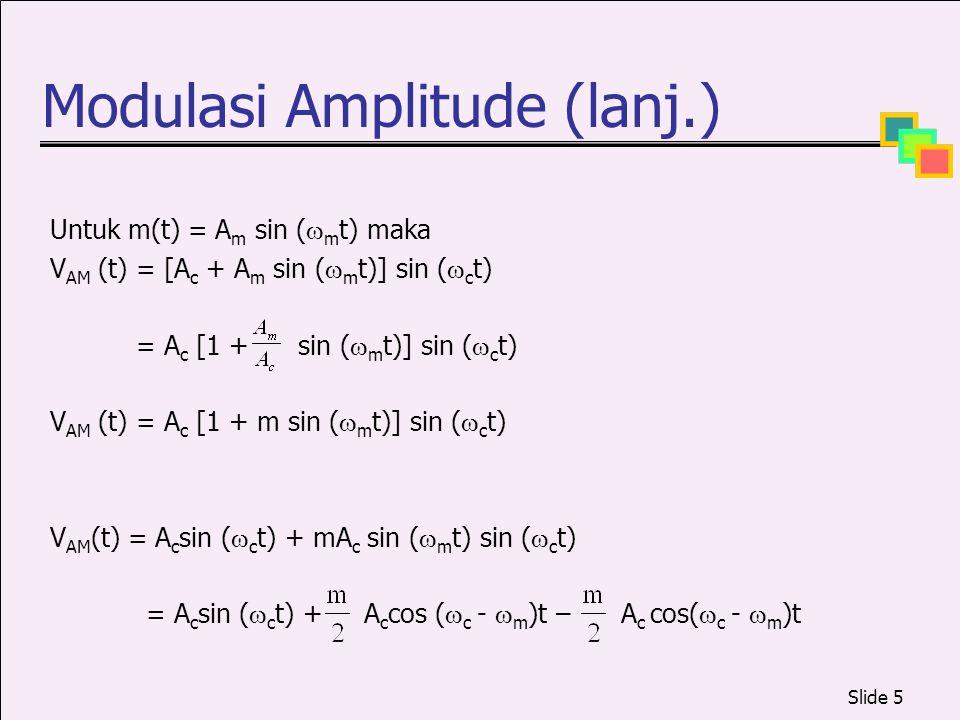 Slide 5 Modulasi Amplitude (lanj.) Untuk m(t) = A m sin (  m t) maka V AM (t) = [A c + A m sin (  m t)] sin (  c t) = A c [1 + sin (  m t)] sin (