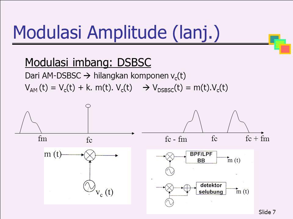 Slide 7 Modulasi Amplitude (lanj.) Modulasi imbang: DSBSC Dari AM-DSBSC  hilangkan komponen v c (t) V AM (t) = V c (t) + k. m(t). V c (t)  V DSBSC (