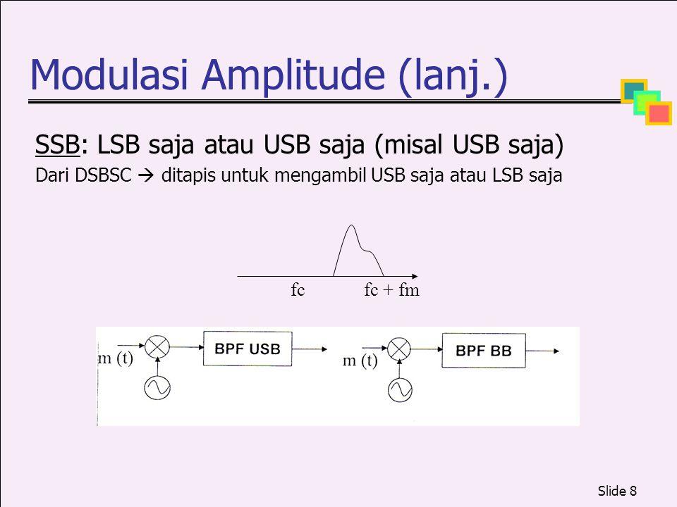 Slide 8 Modulasi Amplitude (lanj.) SSB: LSB saja atau USB saja (misal USB saja) Dari DSBSC  ditapis untuk mengambil USB saja atau LSB saja fcfc + fm