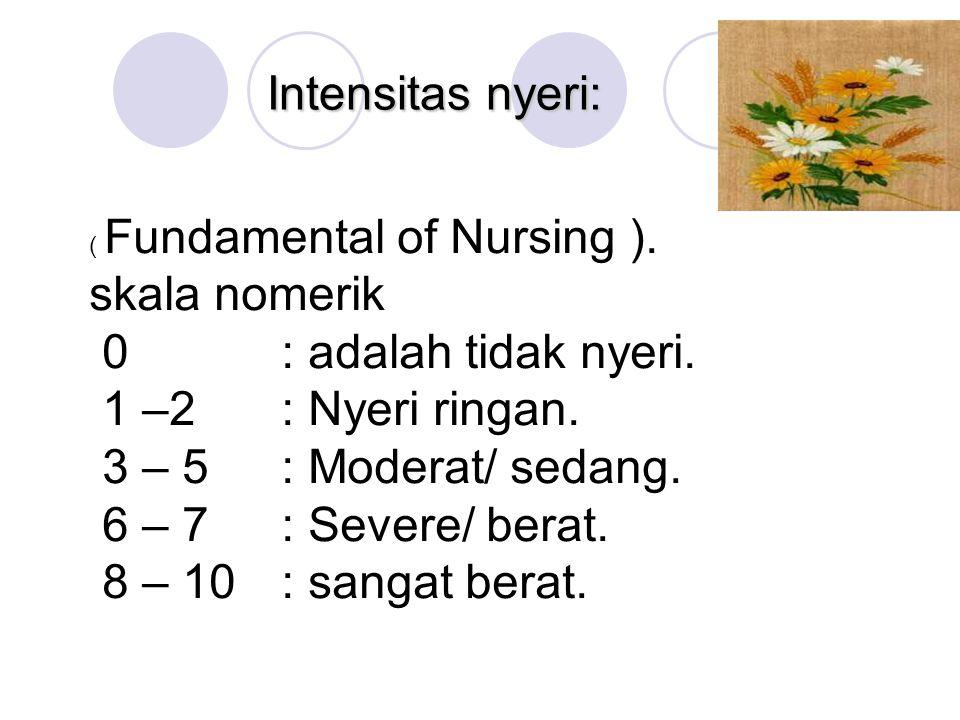 Intensitas nyeri: ( Fundamental of Nursing ). skala nomerik 0 : adalah tidak nyeri. 1 –2: Nyeri ringan. 3 – 5 : Moderat/ sedang. 6 – 7 : Severe/ berat