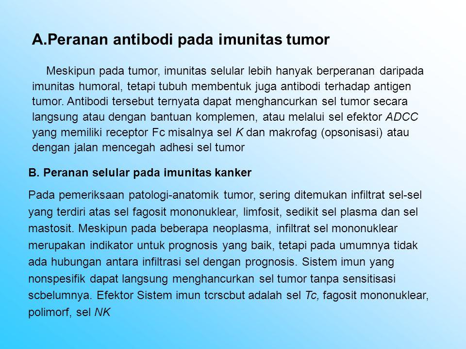 A.Peranan antibodi pada imunitas tumor Meskipun pada tumor, imunitas selular lebih hanyak berperanan daripada imunitas humoral, tetapi tubuh membentuk juga antibodi terhadap antigen tumor.