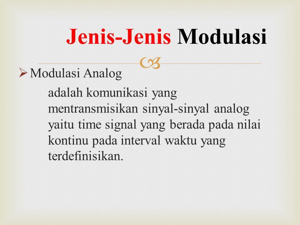   Modulasi Analog adalah komunikasi yang mentransmisikan sinyal-sinyal analog yaitu time signal yang berada pada nilai kontinu pada interval waktu y