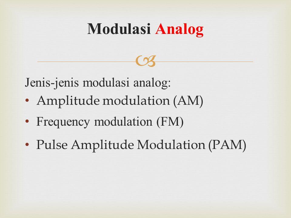  Jenis-jenis modulasi analog: Amplitude modulation (AM) Frequency modulation (FM) Pulse Amplitude Modulation (PAM) Modulasi Analog