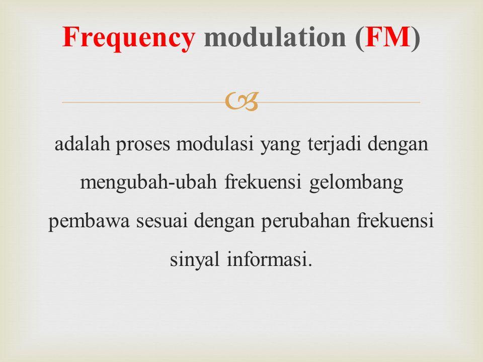  adalah proses modulasi yang terjadi dengan mengubah-ubah frekuensi gelombang pembawa sesuai dengan perubahan frekuensi sinyal informasi. Frequency m