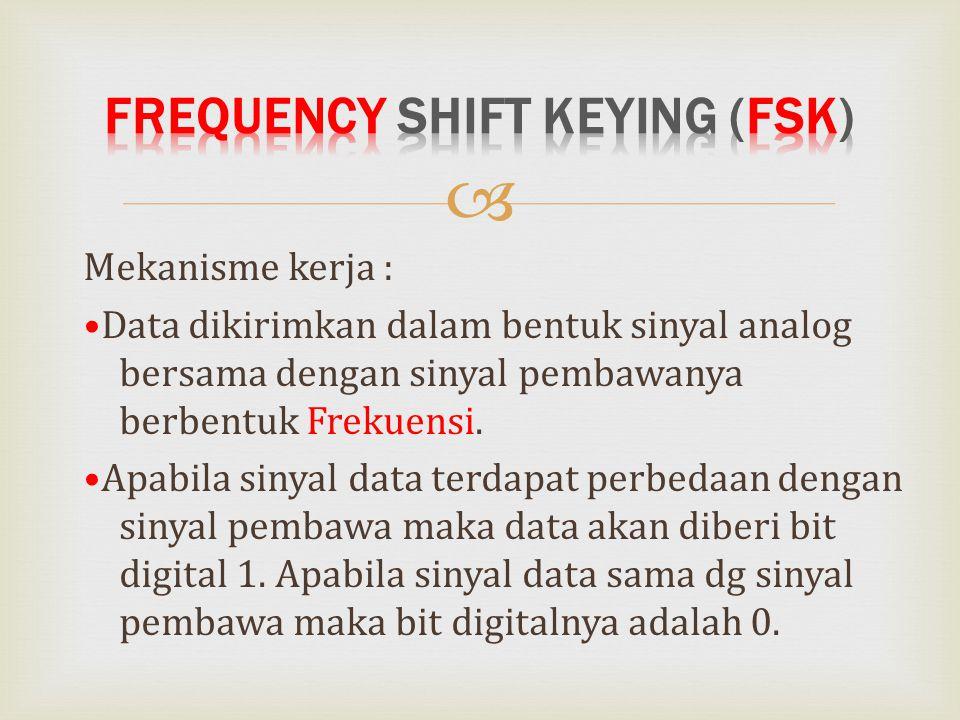  Mekanisme kerja : Data dikirimkan dalam bentuk sinyal analog bersama dengan sinyal pembawanya berbentuk Frekuensi. Apabila sinyal data terdapat perb
