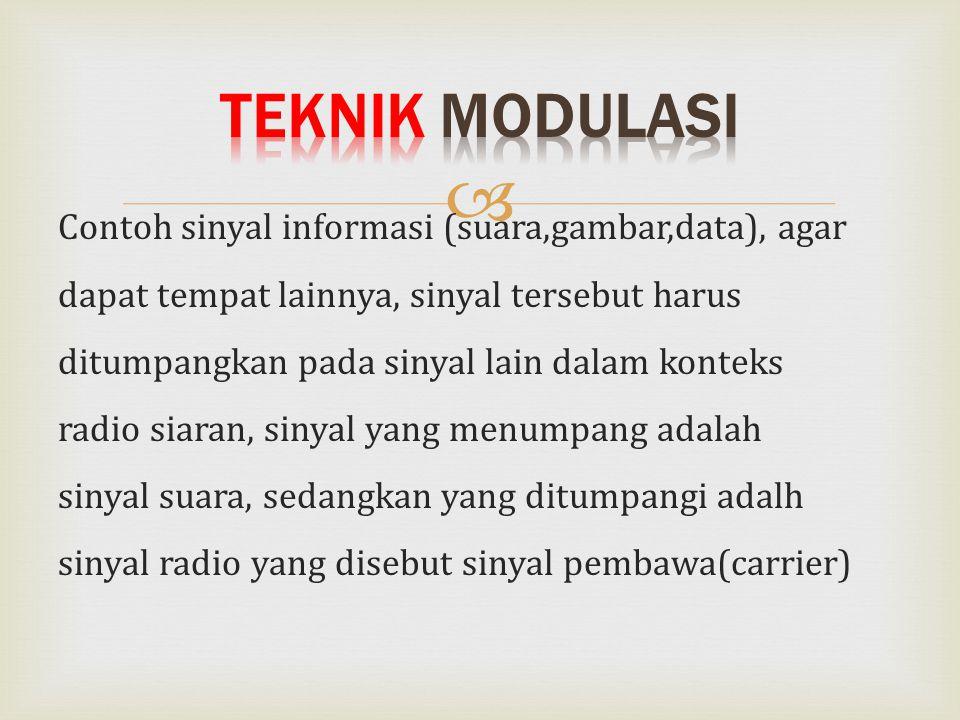  Contoh sinyal informasi (suara,gambar,data), agar dapat tempat lainnya, sinyal tersebut harus ditumpangkan pada sinyal lain dalam konteks radio siar