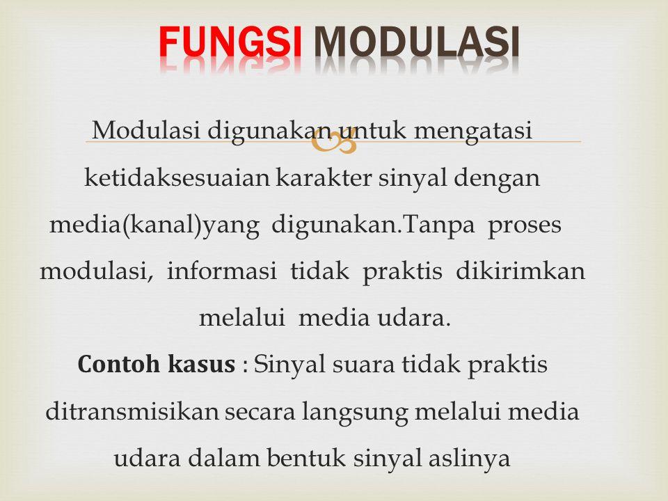  Modulasi digunakan untuk mengatasi ketidaksesuaian karakter sinyal dengan media(kanal)yang digunakan.Tanpa proses modulasi, informasi tidak praktis