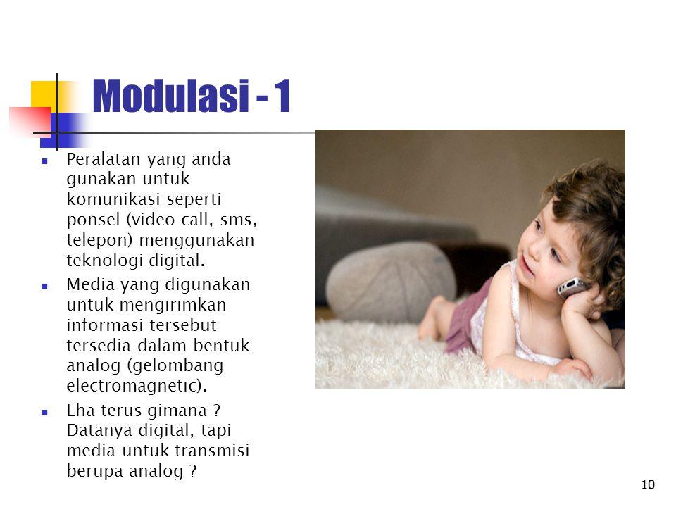 11 Modulasi - 2 Merupakan mekanisme untuk menumpangkan sinyal informasi ke media carrier.