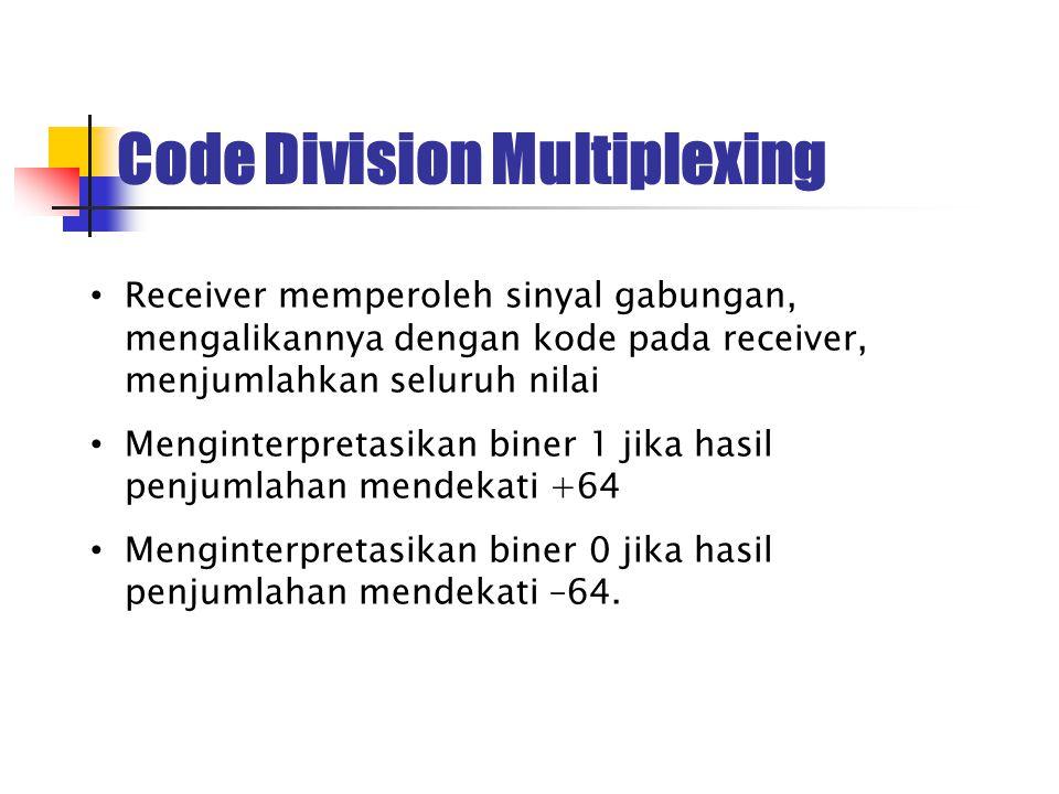 Receiver memperoleh sinyal gabungan, mengalikannya dengan kode pada receiver, menjumlahkan seluruh nilai Menginterpretasikan biner 1 jika hasil penjum