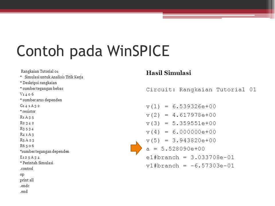 Contoh pada WinSPICE Rangkaian Tutorial 01 * Simulasi untuk Analisis Titik Kerja * Deskripsi rangkaian * sumber tegangan bebas V1 4 0 6 * sumber arus