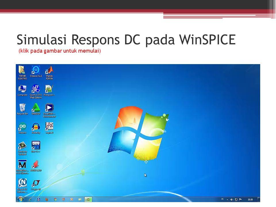 Simulasi Respons DC pada WinSPICE (klik pada gambar untuk memulai)