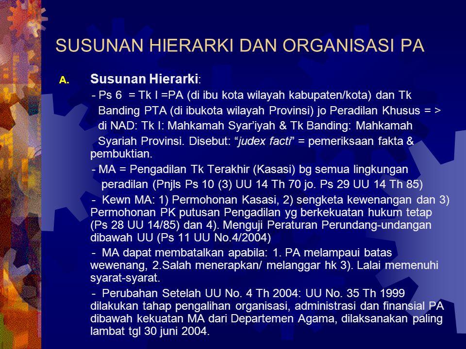 SUSUNAN HIERARKI DAN ORGANISASI PA A.