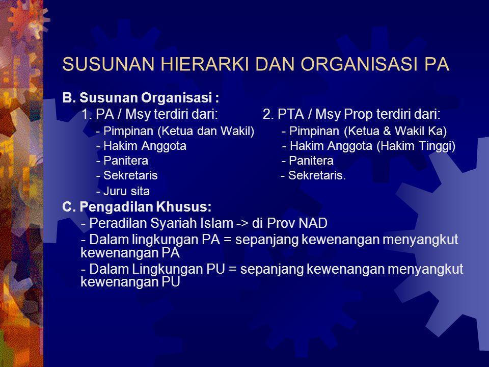 SUSUNAN HIERARKI DAN ORGANISASI PA B. Susunan Organisasi : 1.