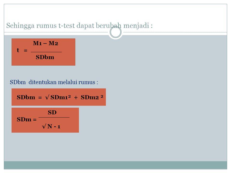 Sehingga rumus t-test dapat berubah menjadi : M1 – M2 t = SDbm SDbm ditentukan melalui rumus : SDbm = √ SDm1² + SDm2 ² SD SDm = √ N - 1