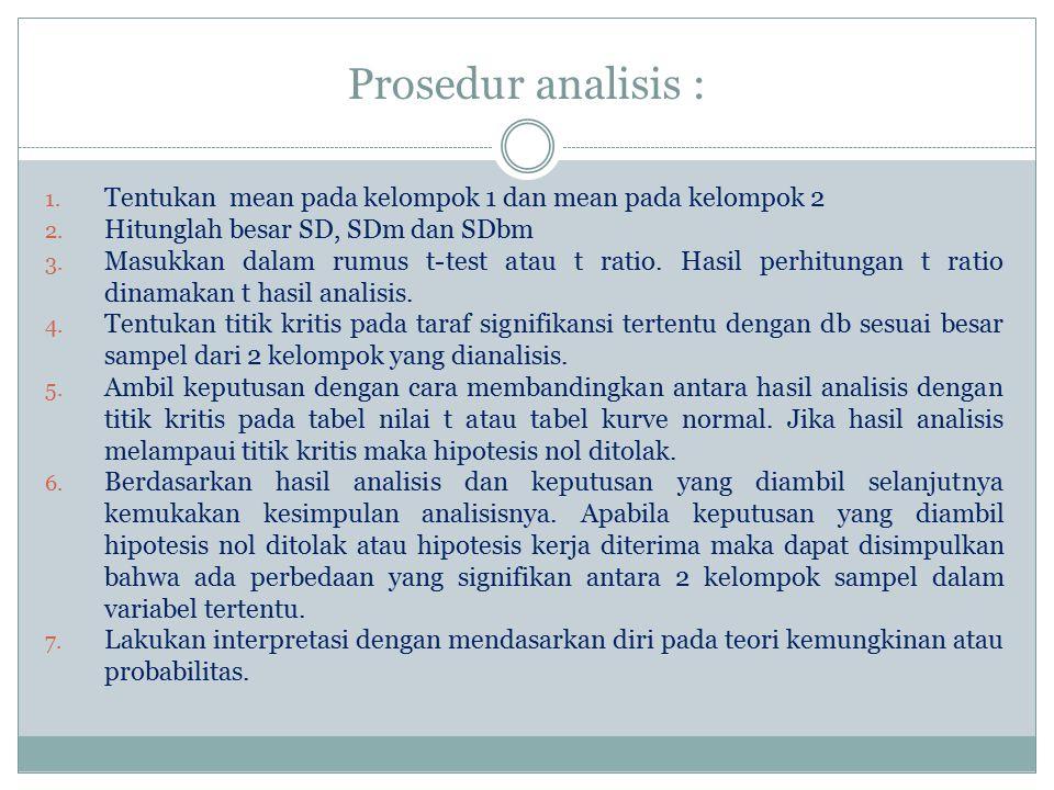 Prosedur analisis : 1. Tentukan mean pada kelompok 1 dan mean pada kelompok 2 2. Hitunglah besar SD, SDm dan SDbm 3. Masukkan dalam rumus t-test atau