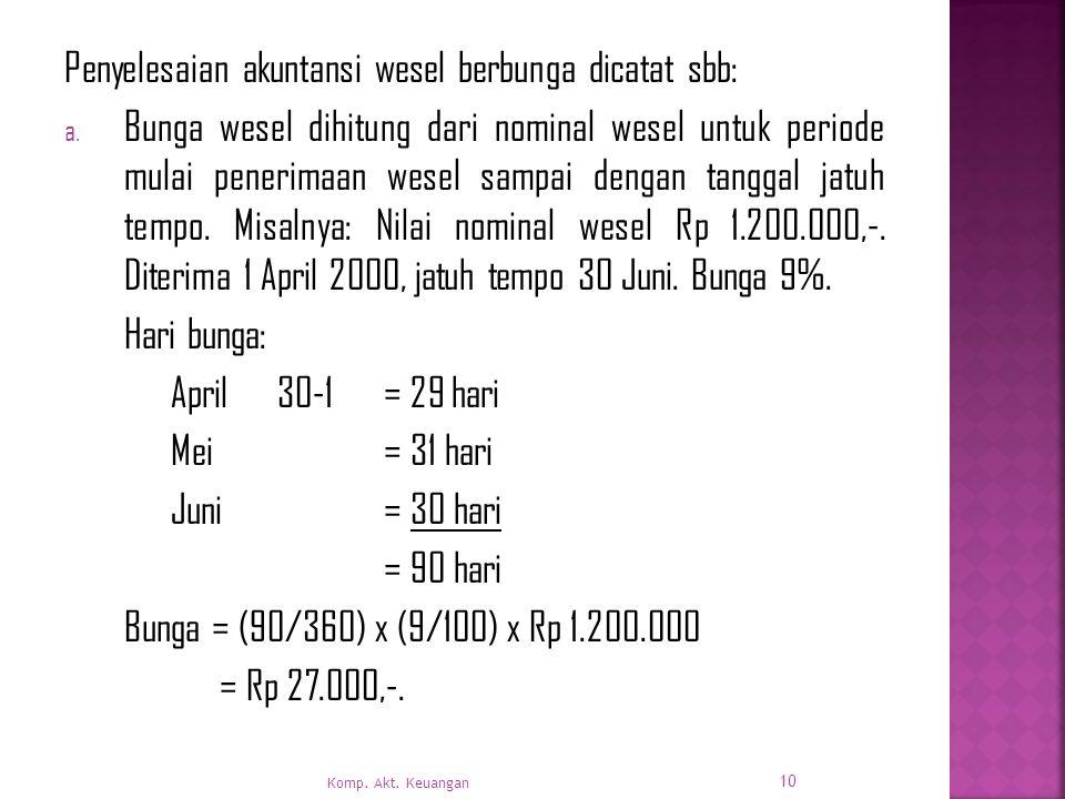 Penyelesaian akuntansi wesel berbunga dicatat sbb: a.