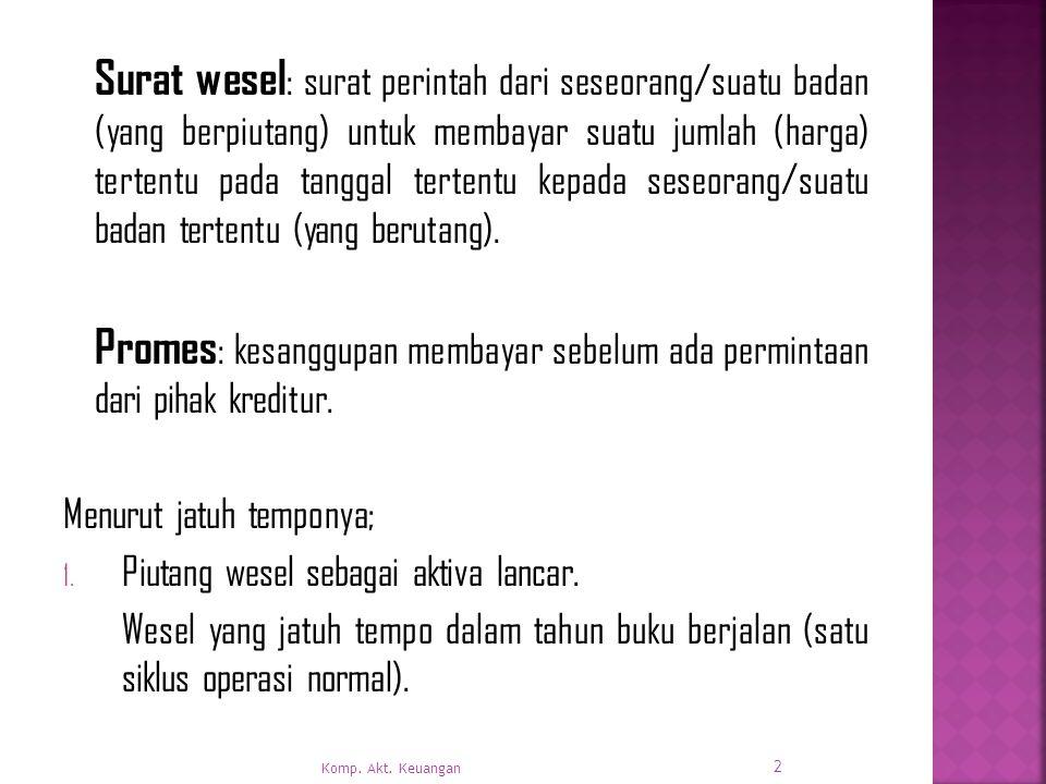Surat wesel : surat perintah dari seseorang/suatu badan (yang berpiutang) untuk membayar suatu jumlah (harga) tertentu pada tanggal tertentu kepada seseorang/suatu badan tertentu (yang berutang).