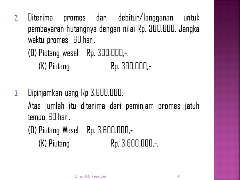 2.Diterima promes dari debitur/langganan untuk pembayaran hutangnya dengan nilai Rp.
