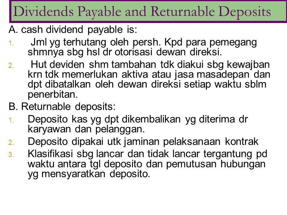 A. cash dividend payable is: 1. Jml yg terhutang oleh persh. Kpd para pemegang shmnya sbg hsl dr otorisasi dewan direksi. 2. Hut deviden shm tambahan