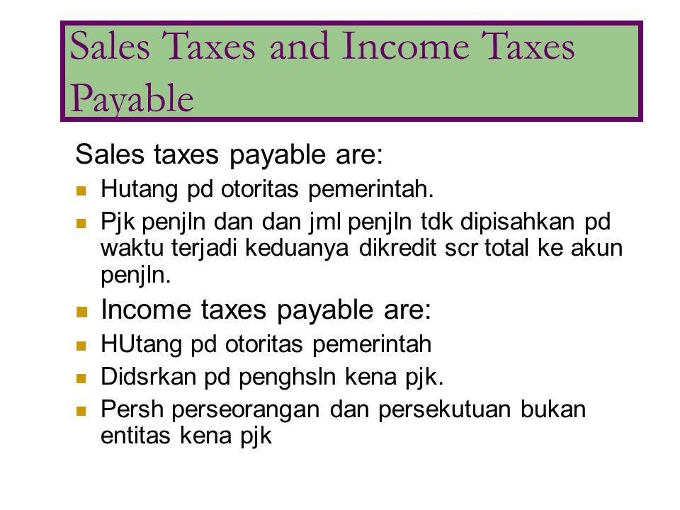 Sales taxes payable are: Hutang pd otoritas pemerintah. Pjk penjln dan dan jml penjln tdk dipisahkan pd waktu terjadi keduanya dikredit scr total ke a