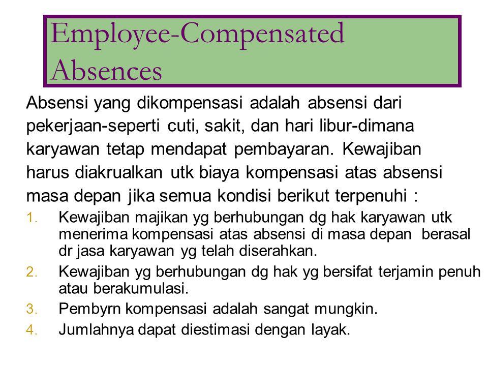 Absensi yang dikompensasi adalah absensi dari pekerjaan-seperti cuti, sakit, dan hari libur-dimana karyawan tetap mendapat pembayaran. Kewajiban harus