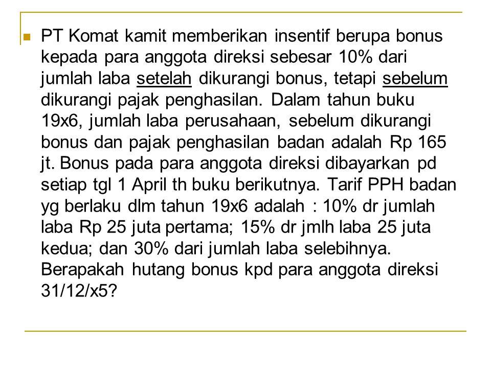 PT Komat kamit memberikan insentif berupa bonus kepada para anggota direksi sebesar 10% dari jumlah laba setelah dikurangi bonus, tetapi sebelum dikur