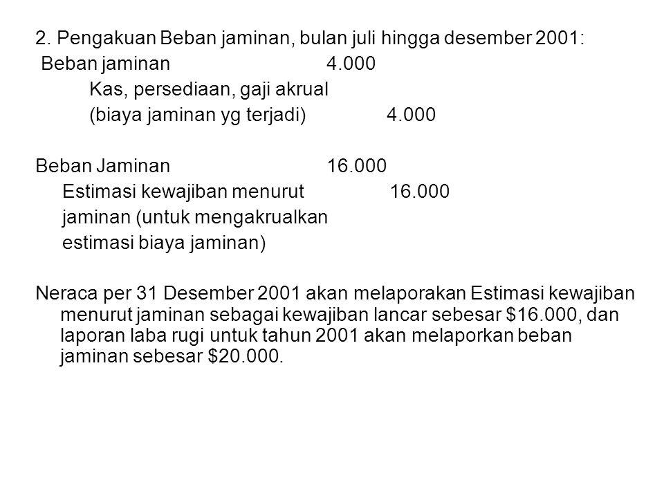 2. Pengakuan Beban jaminan, bulan juli hingga desember 2001: Beban jaminan 4.000 Kas, persediaan, gaji akrual (biaya jaminan yg terjadi) 4.000 Beban J