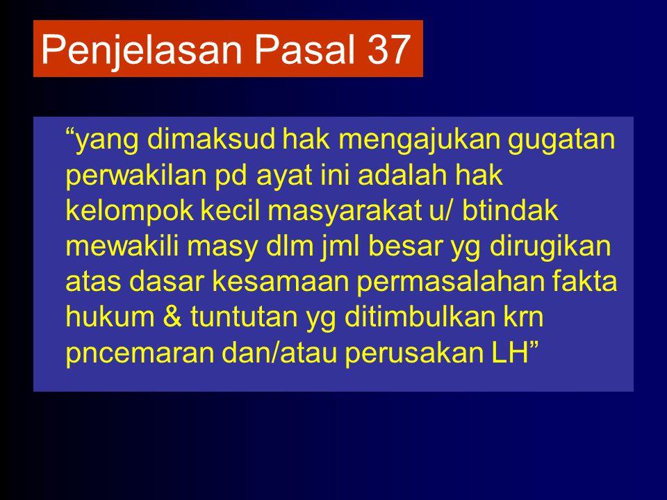 """Penjelasan Pasal 37 """"yang dimaksud hak mengajukan gugatan perwakilan pd ayat ini adalah hak kelompok kecil masyarakat u/ btindak mewakili masy dlm jml"""