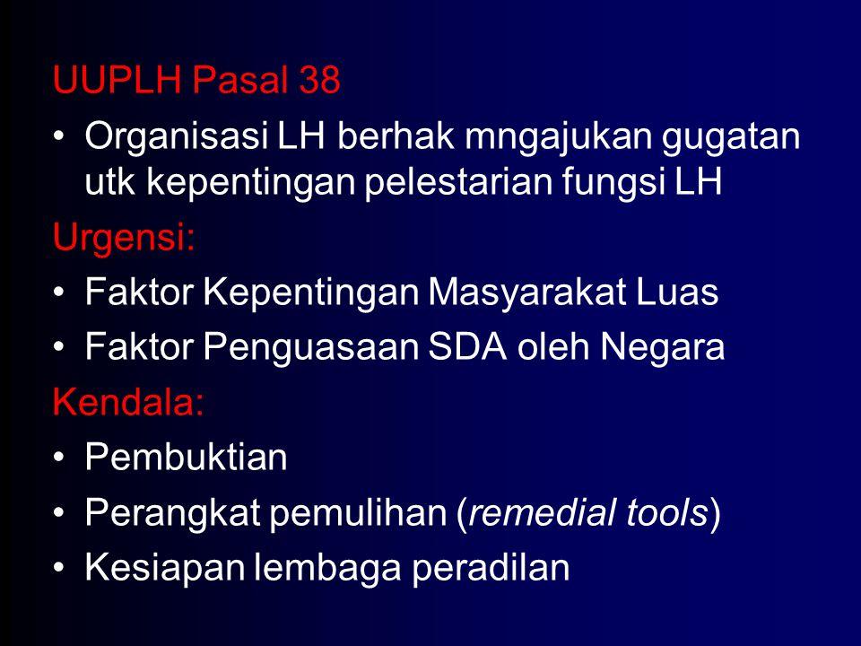 UUPLH Pasal 38 Organisasi LH berhak mngajukan gugatan utk kepentingan pelestarian fungsi LH Urgensi: Faktor Kepentingan Masyarakat Luas Faktor Penguas