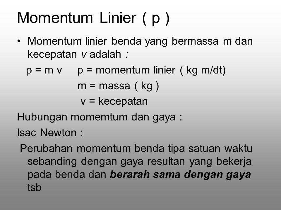 Momentum Linier ( p ) Momentum linier benda yang bermassa m dan kecepatan v adalah : p = m v p = momentum linier ( kg m/dt) m = massa ( kg ) v = kecepatan Hubungan momemtum dan gaya : Isac Newton : Perubahan momentum benda tipa satuan waktu sebanding dengan gaya resultan yang bekerja pada benda dan berarah sama dengan gaya tsb