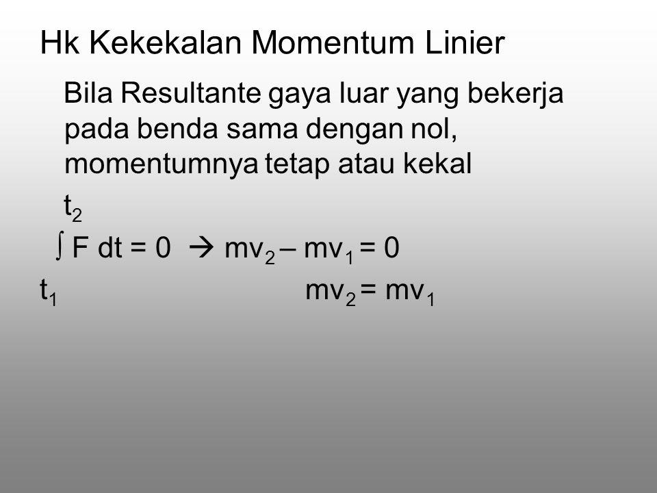 Hk Kekekalan Momentum Linier Bila Resultante gaya luar yang bekerja pada benda sama dengan nol, momentumnya tetap atau kekal t 2 ∫ F dt = 0  mv 2 – mv 1 = 0 t 1 mv 2 = mv 1