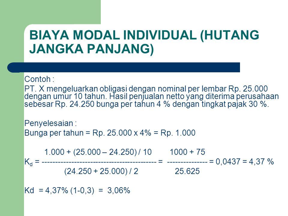 BIAYA MODAL INDIVIDUAL (HUTANG JANGKA PANJANG) Contoh : PT. X mengeluarkan obligasi dengan nominal per lembar Rp. 25.000 dengan umur 10 tahun. Hasil p