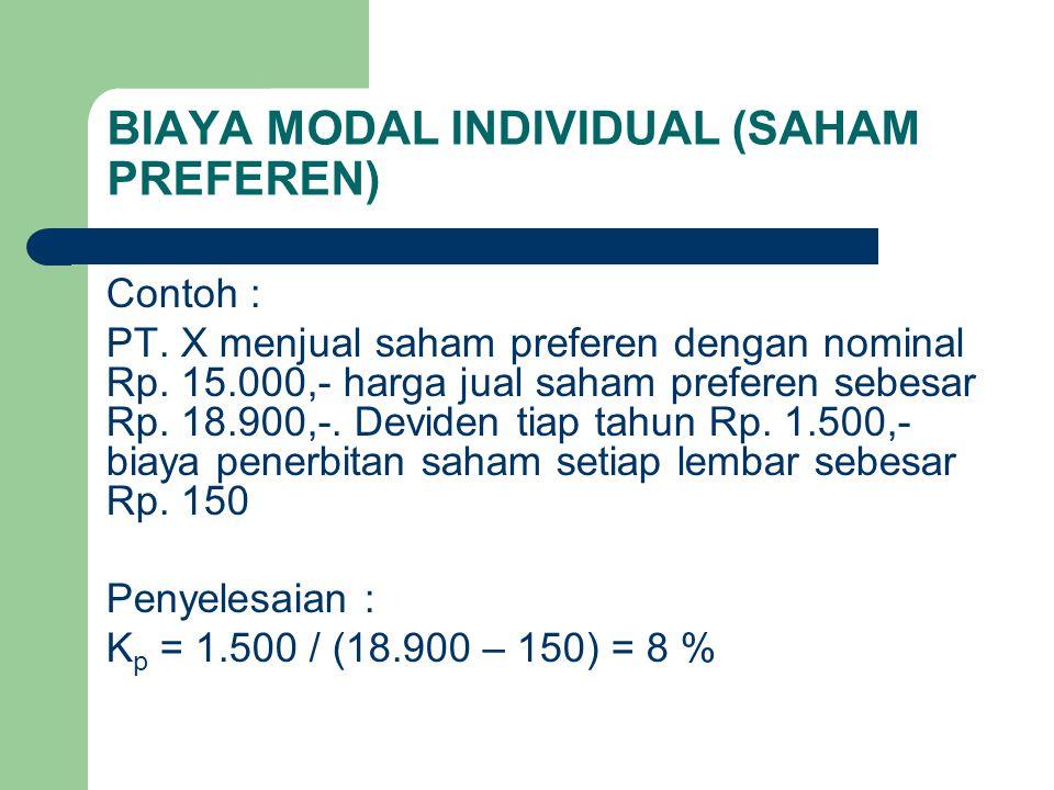 BIAYA MODAL INDIVIDUAL (SAHAM PREFEREN) Contoh : PT. X menjual saham preferen dengan nominal Rp. 15.000,- harga jual saham preferen sebesar Rp. 18.900
