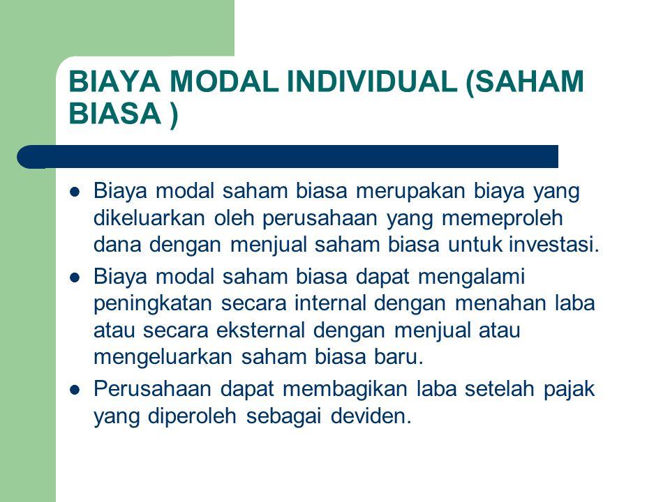 BIAYA MODAL INDIVIDUAL (SAHAM BIASA ) Biaya modal saham biasa merupakan biaya yang dikeluarkan oleh perusahaan yang memeproleh dana dengan menjual sah