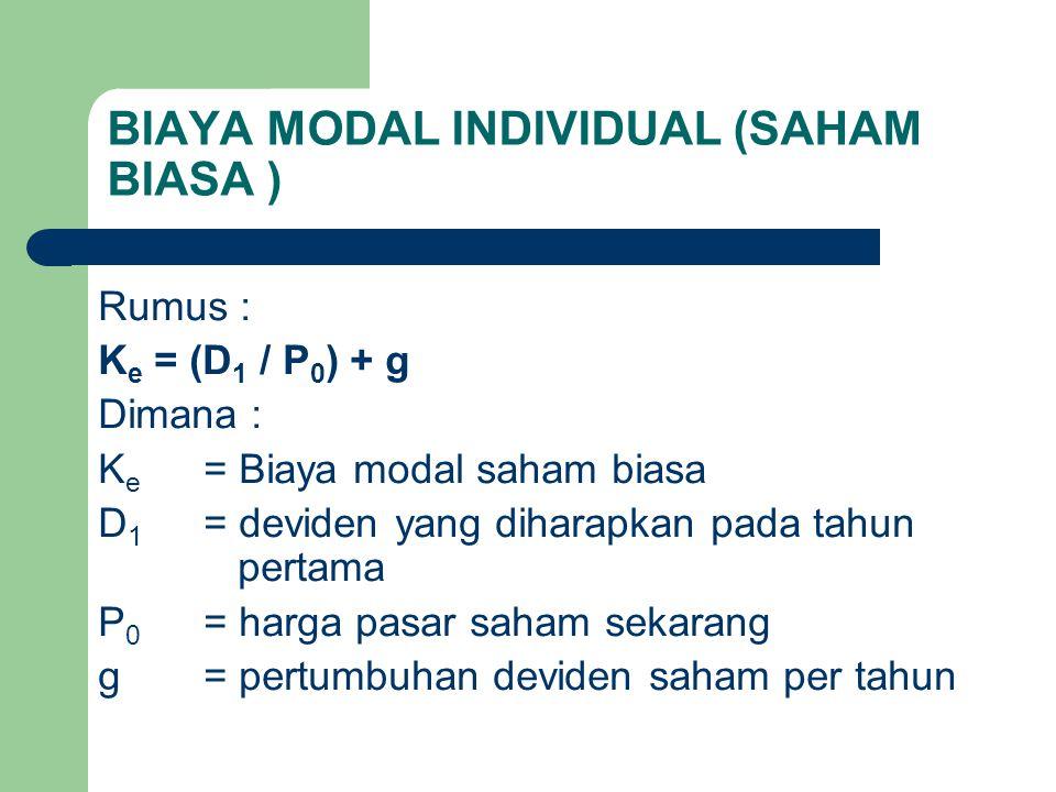 BIAYA MODAL INDIVIDUAL (SAHAM BIASA ) Rumus : K e = (D 1 / P 0 ) + g Dimana : K e = Biaya modal saham biasa D 1 = deviden yang diharapkan pada tahun p