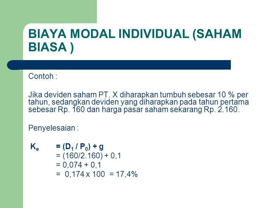 BIAYA MODAL INDIVIDUAL (SAHAM BIASA ) Contoh : Jika deviden saham PT. X diharapkan tumbuh sebesar 10 % per tahun, sedangkan deviden yang diharapkan pa