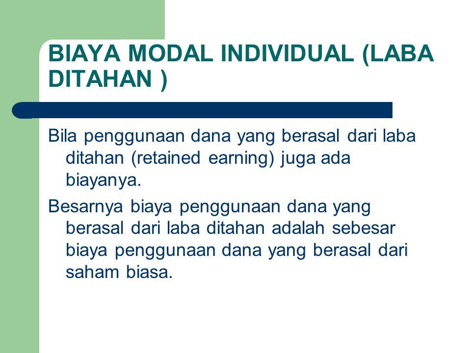 BIAYA MODAL INDIVIDUAL (LABA DITAHAN ) Bila penggunaan dana yang berasal dari laba ditahan (retained earning) juga ada biayanya. Besarnya biaya penggu