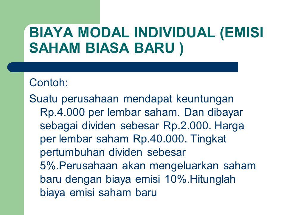 BIAYA MODAL INDIVIDUAL (EMISI SAHAM BIASA BARU ) Contoh: Suatu perusahaan mendapat keuntungan Rp.4.000 per lembar saham. Dan dibayar sebagai dividen s