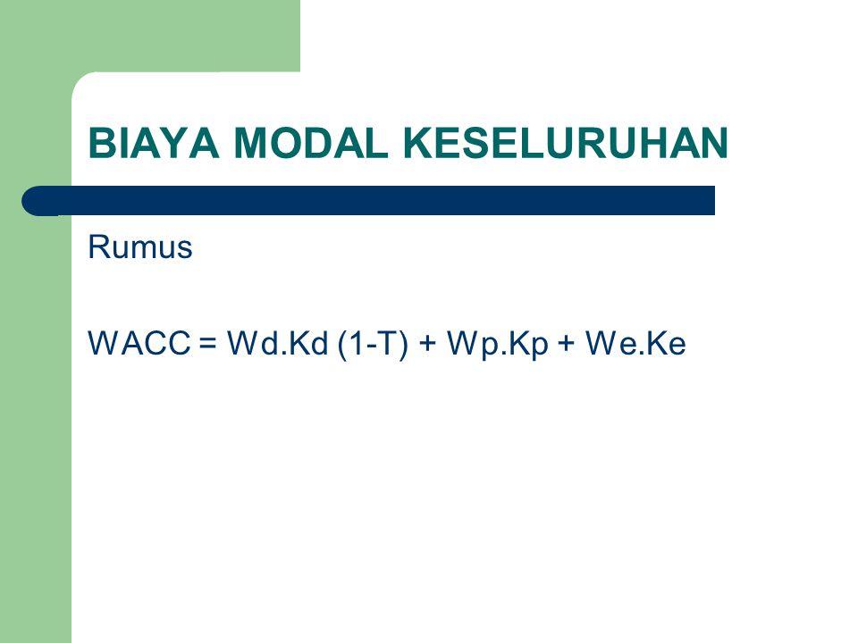 BIAYA MODAL KESELURUHAN Rumus WACC = Wd.Kd (1-T) + Wp.Kp + We.Ke