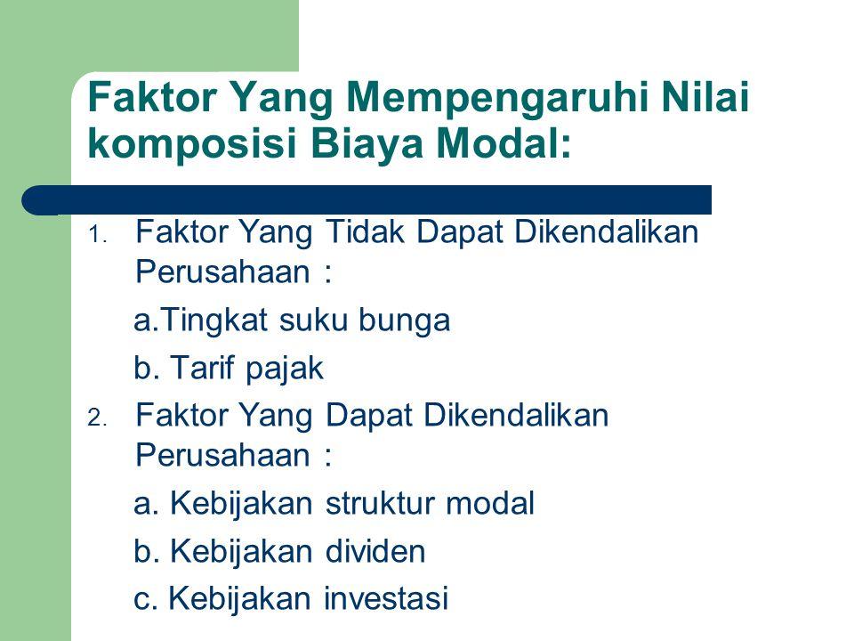 Faktor Yang Mempengaruhi Nilai komposisi Biaya Modal: 1. Faktor Yang Tidak Dapat Dikendalikan Perusahaan : a.Tingkat suku bunga b. Tarif pajak 2. Fakt