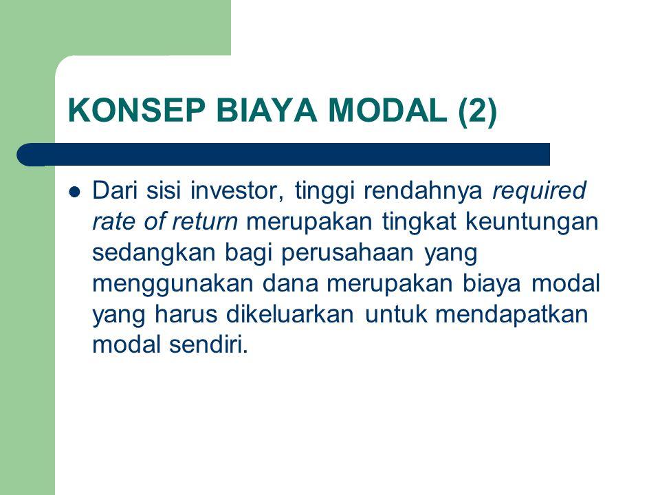 KONSEP BIAYA MODAL (2) Dari sisi investor, tinggi rendahnya required rate of return merupakan tingkat keuntungan sedangkan bagi perusahaan yang menggu