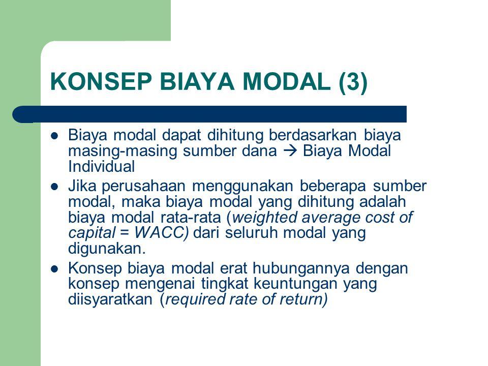 KONSEP BIAYA MODAL (3) Biaya modal dapat dihitung berdasarkan biaya masing-masing sumber dana  Biaya Modal Individual Jika perusahaan menggunakan beb
