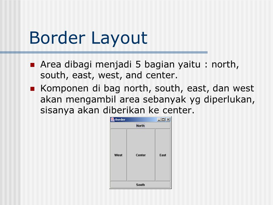 Border Layout Area dibagi menjadi 5 bagian yaitu : north, south, east, west, and center.