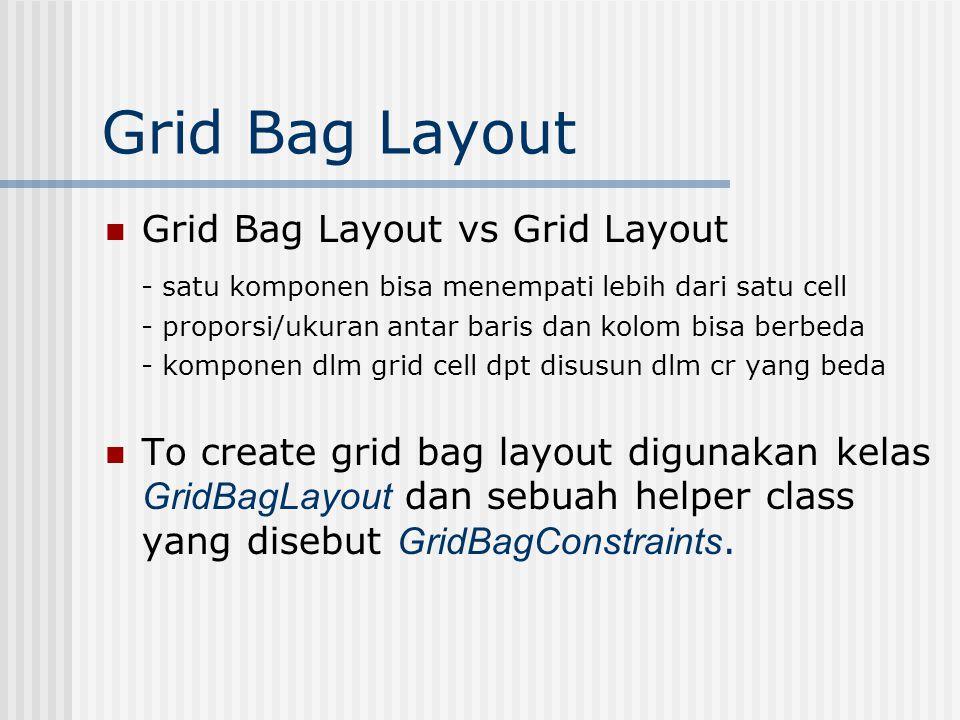 Grid Bag Layout Grid Bag Layout vs Grid Layout - satu komponen bisa menempati lebih dari satu cell - proporsi/ukuran antar baris dan kolom bisa berbeda - komponen dlm grid cell dpt disusun dlm cr yang beda To create grid bag layout digunakan kelas GridBagLayout dan sebuah helper class yang disebut GridBagConstraints.